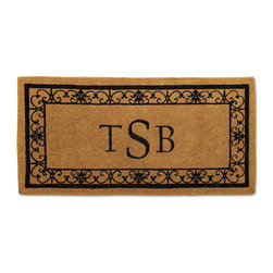 """Frontgate - Wayland 3-Initial Monogrammed Door Mat - 36"""" x 72"""" - Frontgate - Durable, 2-inch thick mat. Protects your floors from mud, sand, water, and dirt. View complete care instructions. Elegantly framed within a scroll border, our Wayland Monogrammed Coco Mat graces your entryway with your single initial, 3-initials, or full last name. Handwoven from naturally harvested coco fibers, this impressive mat features tough bristles of shredded husks to trap dirt and debris, while also absorbing moisture.  .  .  . Please note: Personalized items are nonreturnable. Imported."""