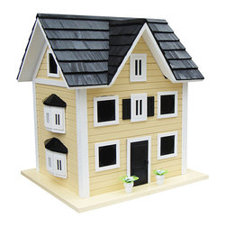 Home Bazaar - Main Street Colonial Cottage Birdhouse for Purple Martins - Realistically detailed with a shingled roof, bay side windows and 10 separate nest interior boxes, this classic birdhouse offers feathered friends a comfortable home year-round. It easily opens at the bottom for yearly cleaning and is specially designed for enhanced ventilation and drainage.   16.5'' W x 18.5'' H x 14.5'' D Entry hole: 2.15'' diameter Kiln-dried hardwood / plywood / pine / Western red cedar / polyresin Water-based nontoxic paint Spray clean Imported