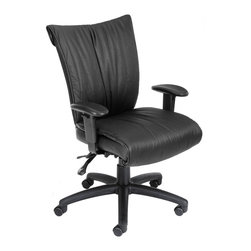 """Boss Chairs - Boss Chairs Boss Black Leatherplus Mid Back with 3-Paddle Mechanism - Beautifully upholstered with black Leather plus. Leather plus is leather that is polyurethane infused for added softness and durability. Dacron filled top cushions. Ratchet back height adjustment mechanism which allows perfect position of the back cushion and lumbar support. Adjustable tilt tension control. Adjustable seat and back angle. Adjustable height armrests with soft polyurethane pad. Large 27"""" nylon base for greater stability. Hooded double wheel casters. Upright locking position. 3 paddle multi-function tilting mechanism which allows the seat and back to lock in any position throughout the tilt range. Pneumatic gas lift seat height adjustment. Optional seat slider (B750-SS)."""
