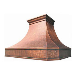 """myCustomMade - Copper Vent Hood """"Charlotte"""", Natural Fired, 36"""", Kitchen Island - Colonial design makes this copper vent hood a great addition to the kitchen. Customize the craftsman copper hood by choosing natural fired, coffee, honey or antique finishing. """"Charlotte"""" style is produced as 30, 36 or 48 inches wide. Its depth is 22"""", height 36"""" and it takes about thirty days to deliver. Once purchased specify the hood 21000001 version as wall mount or kitchen island. Enjoy free delivery."""