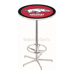 Holland Bar Stool - Holland Bar Stool L216 - 42 Inch Chrome Arkansas Pub Table - L216 - 42 Inch Chrome Arkansas Pub Table  belongs to College Collection by Holland Bar Stool Made for the ultimate sports fan, impress your buddies with this knockout from Holland Bar Stool. This L216 Arkansas table with retro inspried base provides a quality piece to for your Man Cave. You can't find a higher quality logo table on the market. The plating grade steel used to build the frame ensures it will withstand the abuse of the rowdiest of friends for years to come. The structure is triple chrome plated to ensure a rich, sleek, long lasting finish. If you're finishing your bar or game room, do it right with a table from Holland Bar Stool.  Pub Table (1)