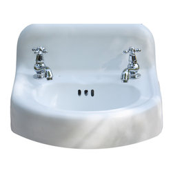 Consigned 1956 Porcelain Cast Iron Wall Mount Bathroom Sink 18 x 17 Refinished - 1956 Porcelain and Cast Iron Period Bath Sink 18 x 17 Refinished in Bright White with New Faucet and Drain