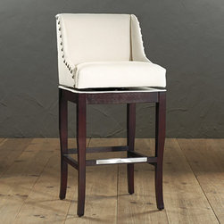 Ballard Designs - Marcello Barstool with Pewter Nail Head Trim - Understated cabriole legs. Your choice of leg finish stain. Made in the USA. Our Marcello Barstool's sloping, padded arms offer the wraparound comfort of a wing chair. The frame is hand crafted of solid maple with padded, 180memory swivel seat finished with oversized, pewter finish nailhead trim. Marcello Barstool features:  . . .