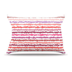 "Kess InHouse - Nandita Singh ""Blush Stripes"" Pink Striped Pillow Case, Standard (30"" x 20"") - This pillowcase, is just as bunny soft as the Kess InHouse duvet. It's made of microfiber velvety fleece. This machine washable fleece pillow case is the perfect accent to any duvet. Be your Bed's Curator."