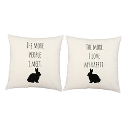 RoomCraft - Love My Rabbit Throw Pillow Covers 16x16 White Cotton Shams - FEATURES: