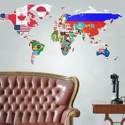 Binary Box - Flags of the World Map Wall Sticker - The Flags of the World Map Wall Sticker is a great educational tool, featuring the flags of all the countries in the world in one stunning, colourful display. Whether you want to help your children with their geography or get clued up for the next pub quiz, this wall sticker is both functional and decorative and brings a vibrant, multicultural flavour to your décor.