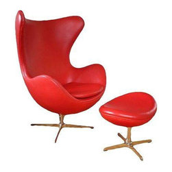 Arne Jacobsen Style Red Leather Chair & Ottoman - $4,000 Est. Retail - $2,695 on -