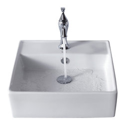 Kraus - Kraus White Square Ceramic Sink and Ventus Basin Faucet Chrome - *Add a touch of elegance to your bathroom with a ceramic sink combo from Kraus