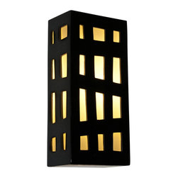 A19 - Grid Wall Sconce Black Gloss and White Frost - The Grid Wall Sconce features a rectangular box lantern design with colored panes of glass framed by asymmetrical grid lines on three sides. Light shines through openings at the top, the bottom and creates a warm glow through the glass. Handmade to A19's exacting standards, using a kiln-fired ceramic base and recycled window glass from local sources.