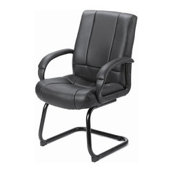 BOSS Chair - Vinyl Conference Room Chair in Black w Sled B - This stylish executive chair combines comfort, class and sleek design, all in one stylish, black, vinyl upholstered piece. Ideal for seating visitors to your office or business clients, this black chair has a sturdy metal base, padded arm rests and a classic mid back design. With a broad seat and contoured back, this chair maximizes your comfort while enriching your office. Beautifully upholstered with ultra soft and durable Caressoft upholstery. Executive Mid Back styling with extra lumbar support. Padded armrests covered with Caressoft upholstered. Matching guest chair for models (B7901) and (B7906). Cushion color: Black. Base/wood: Black. Seat size: 20.5 in. W x 20 in. D. Seat height: 19 in. H. Arm height: 27 in. H. Overall dimension: 27 in. W x 27 in. D x 40 in. H. Weight capacity: 250 lbs