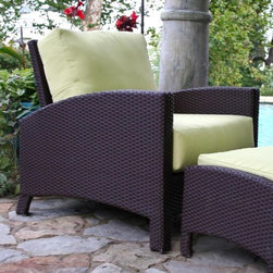 Anacara Atlantis All-Weather Wicker Lounge Chair - We're pleased to offer our #1 selling Sunbrella Canvas Natural which ships within 24 hours of your order being placed. No other online retailer can offer quality, custom furniture with a quicker ship time!Equally stylish and comfortable, the Atlantis Wicker Lounge Chair with Cushions features an angled backrest and solid flanks with curved armrests. This durable patio chair with aluminum frame is wrapped in all-weather resin wicker. It boasts a rich and bold espresso finish that lends an exotic touch to the setting. The deep, plush seat and back cushions are available in your choice of a variety of different designer options, from muted solids to brightly patterned prints. Choose from three grades of fabric. Grade A is an outdoor fabric with a printed color or pattern. Grades B and C are solution-dyed fabrics. All three are designed for outdoor use, however Grade B and C fabrics, that differ only slightly in their manufacturing process, are more fade resistant. Solution dying refers to the color being soaked into each thread. Printed fabrics have the color on the top side of the fabric only. We recommend Grade B and C fabrics for extremely sunny regions or patios that are in direct sunlight. Grade A fabrics are amazing quality fabrics, but will fade quicker than Grade B and C fabrics when used in direct sunlight. Grade A fabrics have a 1-year fade warranty and Grade B and C fabrics have a 2-year fade warranty.Important NoticeThis item is custom-made to order, which means production begins immediately upon receipt of each order. Because of this, cancellations must be made via telephone to 1-800-351-5699 within 24 hours of order placement. Emails are not currently acceptable forms of cancellation. Thank you for your consideration in this matter.Recommended care for all-weather wicker: Wipe wicker clean with a damp cloth and a solution of mild dish soap and water if needed. Spot-clean cushions with a solution of mild dish soap and water - do not use harsh chemicals.Recommended care for cushions: Clean cushion fabrics with a solution of one cup of mild detergent mixed with four gallons of water. Use a sponge to clean the cushion fabrics and rinse thoroughly with clean water. Allow fabric to air-dry. As general maintenance, avoid allowing dirt to build up on cushions. To keep cushions looking their best, store or cover them when not in use for an extended period of time.