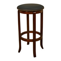 American Heritage - American Heritage Princess Stool in Walnut with Black Vinyl - 26 Inch - A simple but sturdy frame accented with the black 360 degree full bearing swivel padded cushion makes this Princess counter or bar stool perfect for any room of the house.