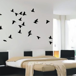 StickONmania - Flock of Birds Sticker - A flock of birds flying on your wall. Decorate your home with original vinyl decals made to order in our shop located in the USA. We only use the best equipment and materials to guarantee the everlasting quality of each vinyl sticker. Our original wall art design stickers are easy to apply on most flat surfaces, including slightly textured walls, windows, mirrors, or any smooth surface. Some wall decals may come in multiple pieces due to the size of the design, different sizes of most of our vinyl stickers are available, please message us for a quote. Interior wall decor stickers come with a MATTE finish that is easier to remove from painted surfaces but Exterior stickers for cars,  bathrooms and refrigerators come with a stickier GLOSSY finish that can also be used for exterior purposes. We DO NOT recommend using glossy finish stickers on walls. All of our Vinyl wall decals are removable but not re-positionable, simply peel and stick, no glue or chemicals needed. Our decals always come with instructions and if you order from Houzz we will always add a small thank you gift.