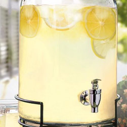 Jay Companies - Glass Lemonade Beverage Dispenser with Metal Stand - Add an air of casual elegance and refined beauty to your wedding reception, dinner party, or simply your daily home with our high quality clear glass drink dispenser. Featuring a graciously large opening for easy cleaning and refilling and a heavy duty acrylic spigot which will ensure a smooth and efficient flow. Our fine glass beverage dispenser is footed, creating a beautiful centerpiece while quenching guests thirst. Treat your house guests to an elegant night of home entertaining or present as a hostess or birthday gift she will enjoy for years to come.   * Capacity: 2.75 gallons