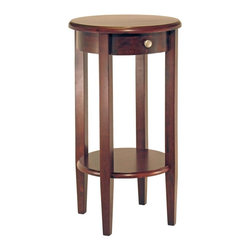 """Winsome Wood - Round Top Pedestal Table w Shelf - Our popular round top pedestal table combines traditional and contemporary styling influences that will enhance most any room setting! The 30"""" high table is finished in warm Antique Walnut and offers convenient storage in a single drawer and lower shelf. Perfect for an entry or any spot where you want to draw attention to display pieces. Round pedestal tables feature single inset drawers that are great for stashing keys or other small items. Bring this handsome Concord round pedestal table into your home and beautify any room in your house. * Antique Walnut finish. 17.32 in. x 17.32 in. x 30 in. H"""