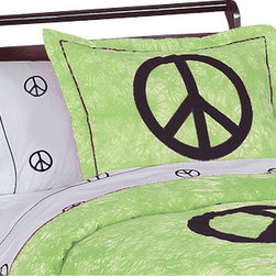 Sweet Jojo Designs - Green Peace Pillow Sham - The Green Peace standard pillow sham coordinates beautifully with the Sweet Jojo Designs Green Peace bedding collection. This pillow sham is a quick and easy way to complete the look and theme in your child's bedroom. Machine washable. Fits all standard size pillows.The Pillow Sham Dimensions are 20 in. x 26 in.