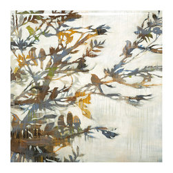 Ballard Designs - Birds in Branches Glass Coat Canvas - Fine art reproduction. Epoxy, resin-based glass coat application produces a durable, protective finish. Finish acts as a moisture-resistant sealer, protecting from warping or sagging, ensuring the lasting beauty of the artwork. A flock of birds resting in a tree are silhouetted against a bright sky, creating compelling imagery in the contrast between light and dark. Faded marks and touches of gold and green add further interest. Digitally printed on gallery-wrapped canvas. A glass coat finish is then hand poured over the giclee in a multi-step process to achieve a smooth, luminous quality and greater depth and dimension.Birds in Branches Glass Coat Canvas features:. . .