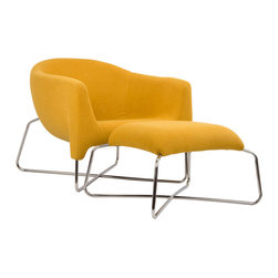Sergeant Mustard Chair and Ottoman - You'll command presence and style with this bold chair and ottoman in your living room. Relax in this deliciously modern design and kick up your feet at the end of a long day. You'll find that its unique mustard shade brightens any room it shares.