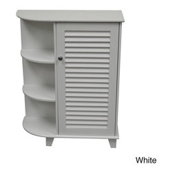 None - Ellsworth Cabinet with Side Shelves - Cabinet with Side Shelves feature a convenient single shutter door design with side shelves and a storage shelf enclosed within the cabinet. This cabinet offers convenient and stylish extra bathroom storage.