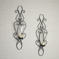 Danya B - Baroque Sconce Set - Add a touch of distinction to your room decor with our classic wall sconces.  A beautiful extension of black twisted wrought iron,each sconce has a glass hurricane suitable for a tea light or votive candle. Candles not included