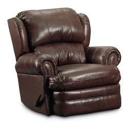 "Lane Furniture - Hancock Top Grainleather Rocker Recliner - The Lane Hancock 5421 Rocker Recliner features classic club chair styling and plush padding throughout for both comfort and style. This chair provides a soothing rocking motion when closed. An easy pull on the handle allows you to recline to any position. Additional comfort features include padded roll arms, a thickly padded t-cushion seat, and a padded footrest. Additional styling cues include antique brash look nail head trim. The Hancock is upholstered in soft, durable top grain leather everywhere you touch when seated. Free curbside delivery included. Inside delivery, chair assembly, and packaging removal is available for an additional fee. Please contact us if you need any of these special delivery services. Overall Dimensions: 39""W x 40""D x 41""H. Seat Dimensions: 21""W x 23""D x 19""H"