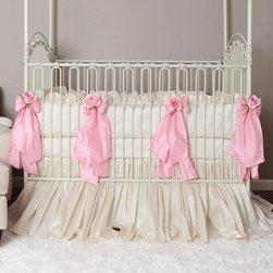 Celine Crib Bedding Linens in Pink, Silk - Celine Crib Linens in Pink by Olena Boyko