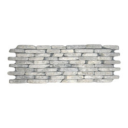 Pebble Tile Shop - Stone Grey Standing Mosaic Tile - Go from wall to wow with these standing mosaic stones. Carefully selected and sorted for color, size and shape, they make a nobly natural statement in a bathroom, kitchen or patio.