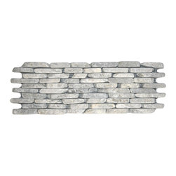 CNK Tile - Stone Grey Standing Mosaic Tile - Go from wall to wow with these standing mosaic stones. Carefully selected and sorted for color, size and shape, they make a nobly natural statement in a bathroom, kitchen or patio.