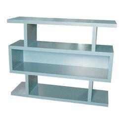 Zig Zag Shelving Unit - One enclosed shelf, two open shelves