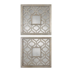 Grace Feyock - Grace Feyock Sorbolo Square Traditional Wall Art X-80831 - Frames feature a decorative design finished in antiqued silver leaf with black undertones and antiqued mirrors. Set of 2.