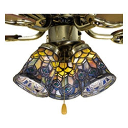 Meyda Tiffany - Meyda Tiffany Peacock Feather Tiffany Ceiling Fan Light Shade X-95472 - Peacock hues create an elegant and trendy look to this Meyda Tiffany ceiling fan light shade. From the Peacock Feather Collection, the elegant curvature of the shade is a reproduction of a classic Louis Tiffany design. The teals, purples, and yellows blend together beautifully while a dark finish completes the design.