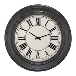 None - Bostonian 32-inch Rustic Black Wall Clock - Make telling the time in your home an easy task with this black wall clock. It features stylish Roman numerals and a distressed finish that give the clock a rustic look. You can easily hang it on the wall and it uses a AA battery for convenience.