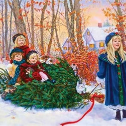 Yuletide Ride Puzzle - 1000 Piece Jigsaw PuzzleYuletide Ride captures the timeless invention of childhood. Imagine a wintry walk home with your brothers and sisters and a Christmas tree in tow. What could be better than turning that tree into a yuletide sleigh? The bright red cheeks and round, cheerful smiles create magic along with the deep sapphire blues, warm greens, and the softly burnished colors of falling leaves and a glowing sky. If you are looking for a challenging and delightful puzzle, this is it.