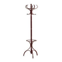 Adarn Inc. - Walnut Curved Hooks Round Coat Hat Rack Stand Umbrella Holder Hall Tree - Accent traditional or casual living room decor with the unique styling of this walnut finish coat rack. A beautiful turned post forms the centerpiece of this useful coat rack. Curved hooks on the top contrast beautifully with the otherwise traditional style of this hall tree and add just a hint of contemporary flair. A creatively designed base offers umbrella storage without the heavy, cluttered look and ends in dramatically curved feet. The coat rack is completed with a distinctive walnut finish with just a hint of red.