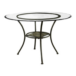 Steve Silver - Carolyn Table - Beveled Glass Top - 45in. Round - The Carolyn Beveled Glass-Top Table is an excellent addition to your kitchen or dining room. Combining decorative accents like faux slate inlays against a rich black finish creates a beautiful dining set.