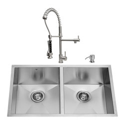 """VIGO Industries - VIGO All in One 32-inch Undermount Stainless Steel Double Bowl Kitchen Sink and - Give your kitchen a makeover with a VIGO All in One Kitchen Set featuring a 32"""" Undermount kitchen sink, faucet, soap dispenser, two matching bottom grids and two sink strainers."""