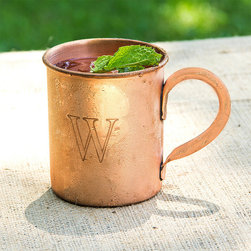 Frontgate - Personalized Moscow Mule Mug - Crafted of 100% copper. Hand wash with warm water. Polishing cloth included; please clean and polish regularly. Can be engraved with a single block initial. Holds 17oz. liquid. Our traditional Personalized Moscow Mule Mug makes for a surprisingly contemporary addition to your drinkware collection. This rustic mug is custom-etched with a single block initial and finished with a shapely handle.  .  .  .  .  . Please note: Personalized items are nonreturnable.