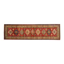 1800-Get-A-Rug - Red Runner Super Kazakh Oriental Rug Hand Knotted 100 Percent Wool Sh18295 - Our tribal & geometric hand knotted rug collection, consists of classic rugs woven with geometric patterns based on traditional tribal motifs. You will find Kazak rugs and flat-woven Kilims with centuries-old classic Turkish, Persian, Caucasian and Armenian patterns. The collection also includes the antique, finely-woven Serapi Heriz, the Mamluk Afghan, and the traditional village Persian rug.