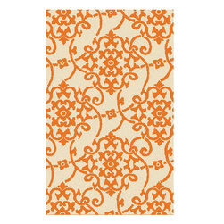 Surya - Surya Rain RAI-1195 (Orange, Beige) 8' x 10' Rug - Rain or shine, these rugs look great outdoors! These hand hooked all weather rugs are manufactured to withstand the rigors of outdoor use. You don't need to worry about ruining your rug by spilling a drink or dropping food, just hose off and it's clean! The colors and designs we specially created to add to the outdoor ambiance.
