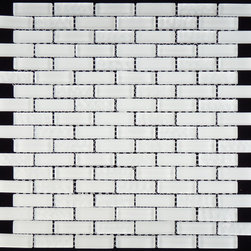 "Euro Glass - Bright White GL-82 Uniform Brick White Glacier Series Glossy & Frosted Glass - Sheet size:  11 3/4"" x 11 3/4""        Tile Size:  5/8"" x 2""        Tile thickness:  1/4""        Grout Joints:  1/8""        Sheet Mount:  Mesh Backed        Sold by the sheet    -"