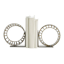 Arteriors - Martina Bookends, Pair - Inspired by our favorite amusement park ride, this pair of rollercoasters is designed to keep your books upright and organized. Handmade and hand formed in natural iron, these bookends are accented with brass welds and rest on natural iron bases. Graphic and organic.