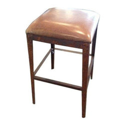Leather and Iron Bar Stool - Rust never looked so good! This handsome leather and distressed iron bar stool is imported from Bali and will bring a touch of edge to any space in need of a bit of texture.
