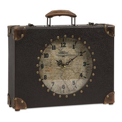 iMax - iMax World Map Suitcase Clock X-17186 - Old world charm and a traveler's mystique are packed in this World Map Suitcase Clock. The perfect size for a desktop, mantle or shelf, this clock will tell you when it's time to travel.