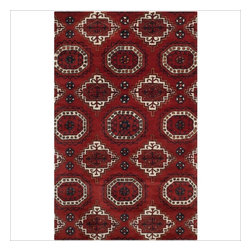 Safavieh - Rosiyn Hand Tufted Rug, Red 5' X 8' - Construction Method: Hand Tufted. Country of Origin: India. Care Instructions: Vacuum Regularly To Prevent Dust And Crumbs From Settling Into The Roots Of The Fibers. Avoid Direct And Continuous Exposure To Sunlight. Use Rug Protectors Under The Legs Of Heavy Furniture To Avoid Flattening Piles. Do Not Pull Loose Ends; Clip Them With Scissors To Remove. Turn Carpet Occasionally To Equalize Wear. Remove Spills Immediately. Safavieh's artistry is vividly displayed in the Wyndham collection with designs ranging from contemporary florals to traditional global motifs. Each richly-hued rug is hand-tufted by master weavers in India of top quality wool. Several designs recreate the one-of-a-kind look of fashionable over-dyed antique rugs using a special multi-colored yarn that is meticulously colored using ages-old pot dyeing techniques. After the dye is carefully applied to each strand of wool, touches of organic viscose are added for soft silky luster as special highlights accents.