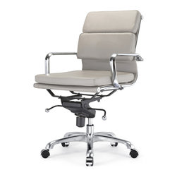 """Meelano - M345 Soft Pad Chair in Gray - A comfortable seat is as good for your body as it is for your work, but a seat that's also stylish is good for the soul. Make something special out of an office necessity with this Eames-inspired ergonomic chair. Minimalist in design yet fully adjustable, this soft padded chair will add the necessary dose of """"ahh"""" into your workday."""