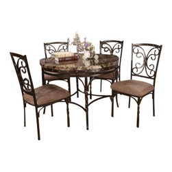 "Acme - 5-Piece Burril Collection Round Faux Marble Top and Metal Frame Table Set - 5-Piece Burril collection round faux marble top and metal frame table set and brown fabric upholstered chairs. This set features round table with a faux marble finish with metal frame, 4 - side chairs with a fabric upholstery. Table measures 44"" Dia. Chairs measure 40"" H at the back. Some assembly required."