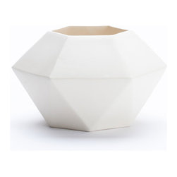 KL Studios - Angle Vase, White - Perfect for indoor / outdoor use. Ceramic with glossy glaze.