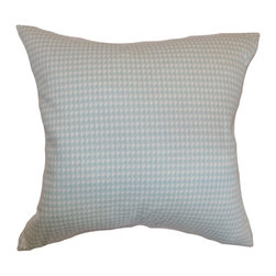 """The Pillow Collection - Lviv Houndstooth Pillow Powder Blue 20"""" x 20"""" - Evoke a cozy and stylish vibe in your living room or bedroom with this chic houndstooth throw pillow. This 20"""" pillow is ideal for your sofa, bed, sectionals or seats. This powder blue hued accent pillow is great for home and office use. Place it anywhere inside your space to bring a sense of casual style. The material used in crafting this decor pillow is made from 100% high-quality cotton fabric. Hidden zipper closure for easy cover removal.  Knife edge finish on all four sides.  Reversible pillow with the same fabric on the back side.  Spot cleaning suggested."""