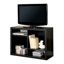"""Monarch Specialties - Monarch Specialties Hollow-Core 38 Inch TV Console or Bookcase in Cappuccino - This bold contemporary """"Shift"""" bookcase / TV console will add stylish storage solution to your living room, office, or hallway. This versatile piece that can be used upright as a bookshelf or on its side as a TV console. Finished in deep cappuccino, the thick hollow-board side panels and asymmetrical shelves provide a sleek an modern look. Open shelves offers space for books, decorative items, or AV equipment. Accommodates up to 38""""L TV."""