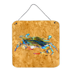 Caroline's Treasures - Crab Aluminium Metal Wall Or Door Hanging Prints - Great for inside or outside these Aluminum prints will add a special touch to your kitchen, bath, front door, outdoor patio or any special place.  6 inches by 6 inches and full of color.  This item will take direct sun for a while before it starts to fade.  Rust and Fade resistant.  Aluminum Print with Hanging Rope.  Rounded Corners.